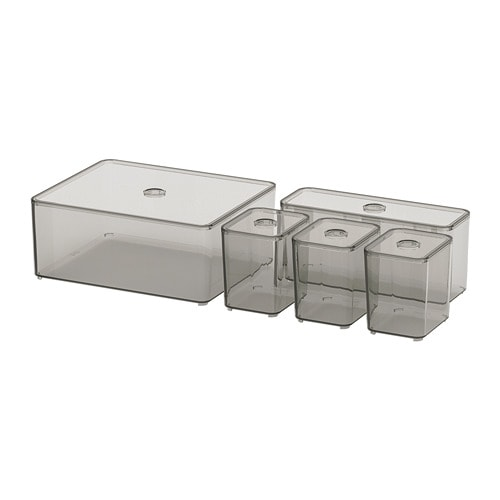 GODMORGON - Bộ hộp 5c/Box with lid, set of 5, smoked