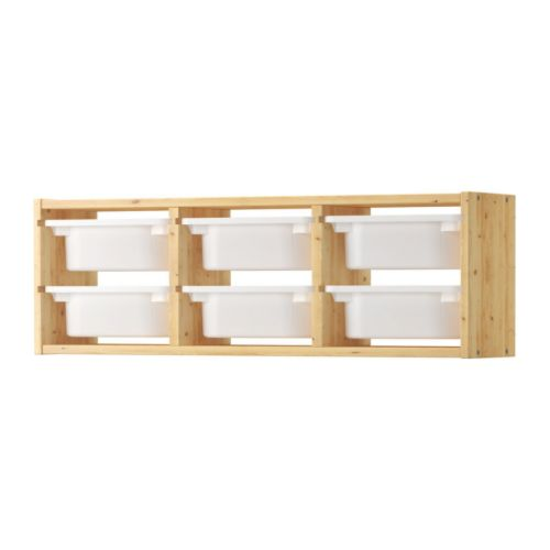 TROFAST - Bộ tủ treo tường 6 ngăn/Wall storage, light white stained pine