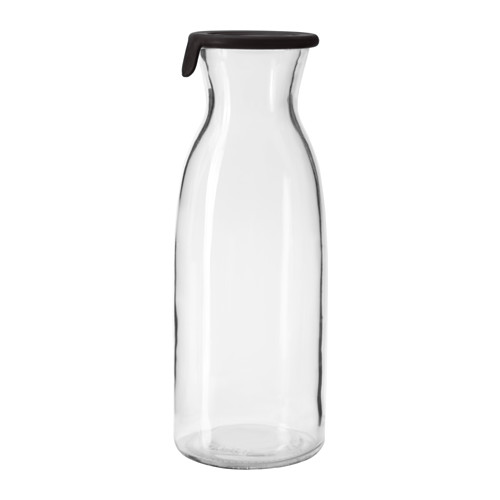VARDAGEN - Chai nắp  silicon 1l/Carafe with lid, clear glass